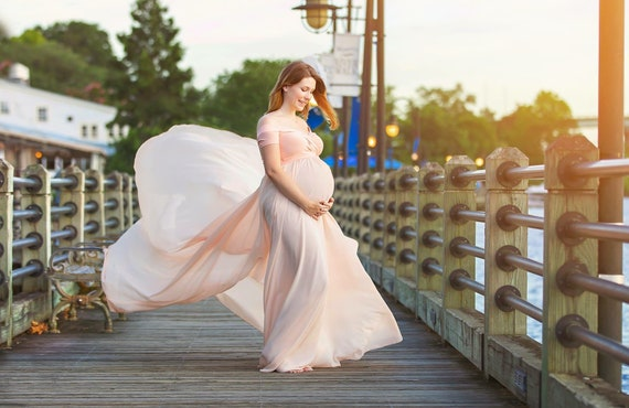 sleeves with short prop peach shoulders long Maternity photo Gown Full off Circle Camille Chiffon train SPRqgg