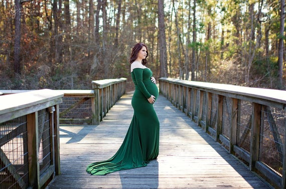 Scarlet Sleeves Photo green Neckline Shoulders Dress Prop Maternity Dress Sweetheart Off emerald Maternity Long rqnxrHOz0