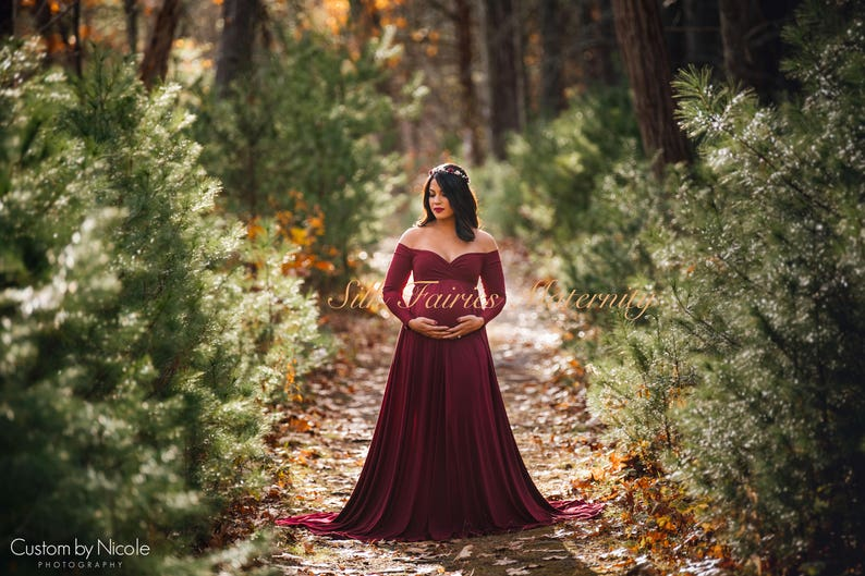 04429f4d05d Darah Burgundy Maternity DressOff Shoulders Long Sleeves