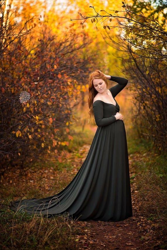 c286f10635 Darah Dark Olive Green Maternity DressOff Shoulders Long