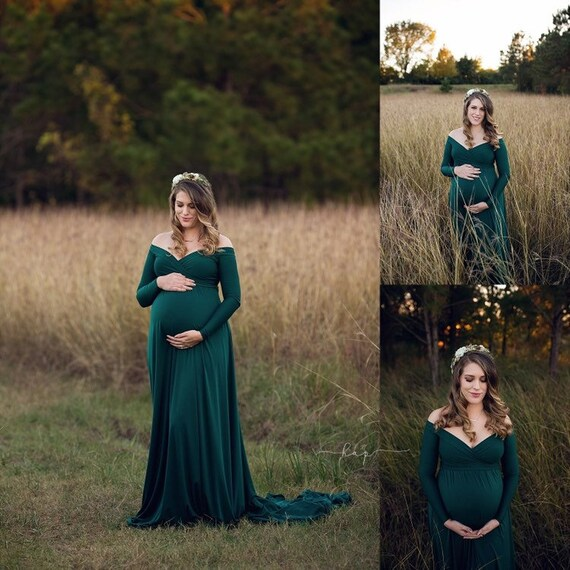 Darah Forest Green Maternity Dress,Off Shoulders, Long Sleeves Maternity, Baby Shower, Bridesmaids, Photo Prop Dress Grown , half circle