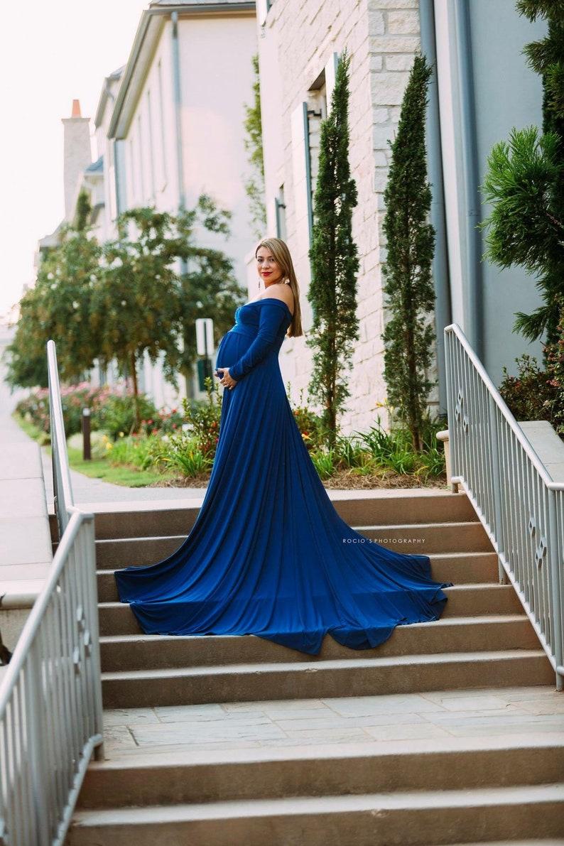 a11457bfc77 Royal Blue Darah Maternity DressOff Shoulders Long Sleeves