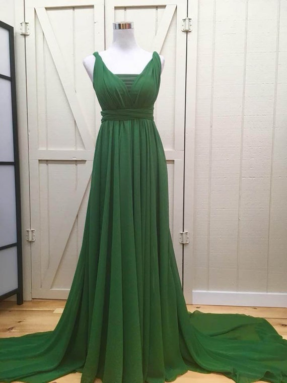 Gown Infinity prop with dress Green maternity dress Olive Circle train Maternity engagement long Chiffon Full dress convertible photo Y5pwqP