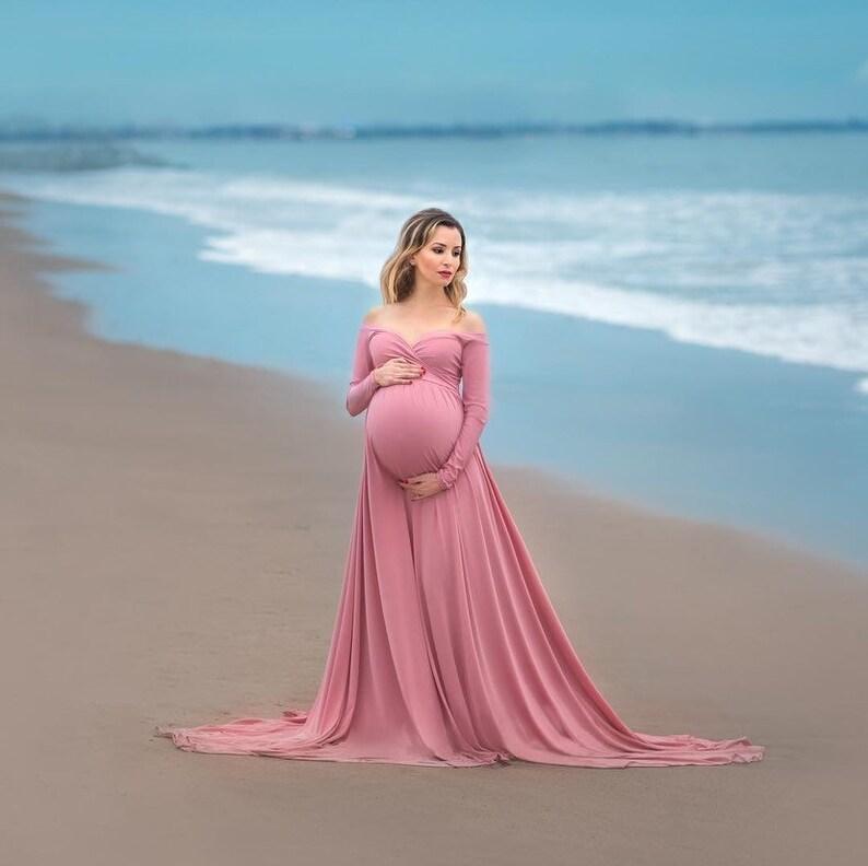 9f96a706a199a Darah dusty rose Maternity DressOff Shoulders Long Sleeves | Etsy