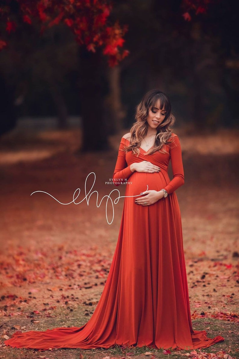 dee73a326ab72 Darah Rust Maternity DressOff Shoulders Long Sleeves | Etsy