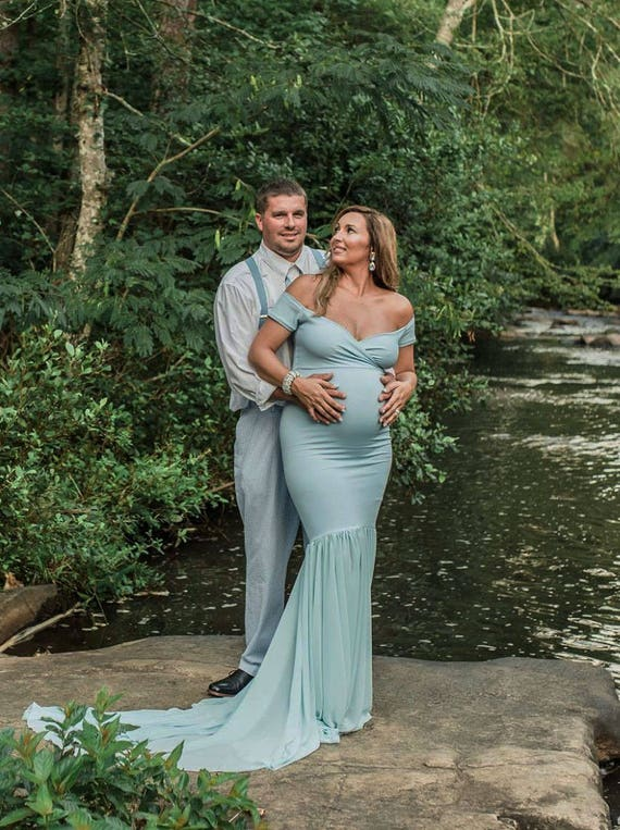 Dress~Short Gown~Off Shower Dress Maternity Sleeves~Baby Style~Dusty Blue Shoulders~Fitted~Mermaid Maternity Dress~Engagement Tessa FfTq4