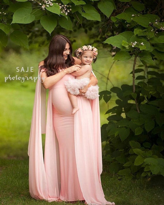 Dresses Baby Shower Jersey Dresses Maternity Photography Long Dress With Cloak Fitted Pregnancy Dresses Chiffon Cloak Maternity Gown Clearance Price Pregnancy & Maternity