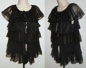 22b30848c46f Vintage 1950 s Evette Black Peignoir Negligee ~ Ruffled Crystal Pleat  Chiffon ~ Gothic ~ Sexy ~ Black Peignoir