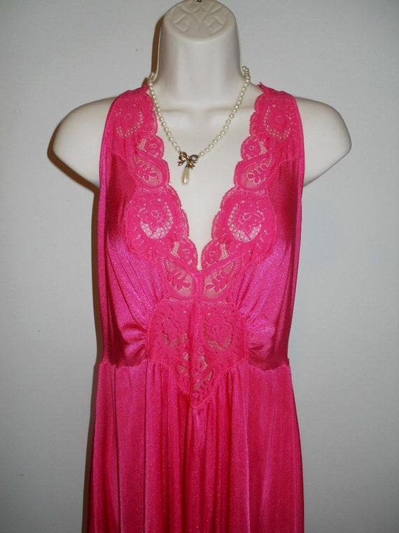 Vintage Hot Pink Olga Nightgown 98280 ~ 1980's  Wi