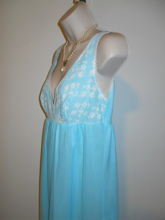 Vintage Baby Blue Chiffon Nightgown ~ 1960's Long… - image 5