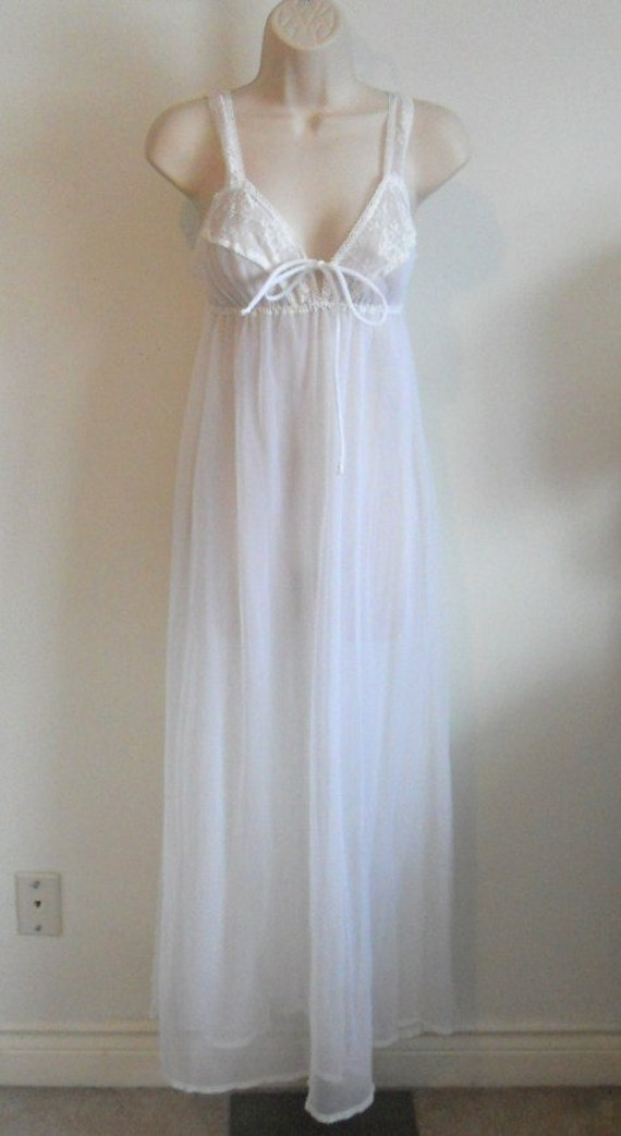 Vintage White Chiffon Long Nightgown ~ 1970's Eliz