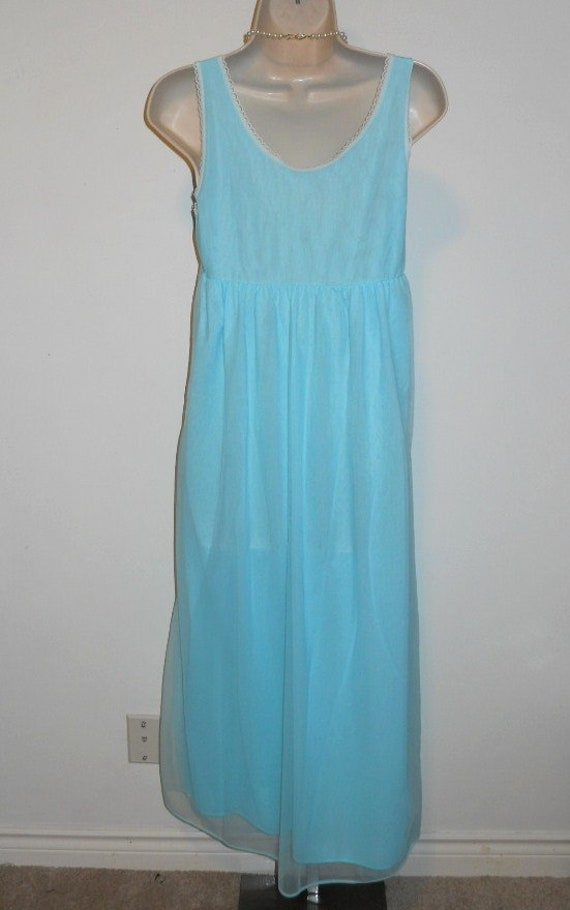 Vintage Baby Blue Chiffon Nightgown ~ 1960's Long… - image 6