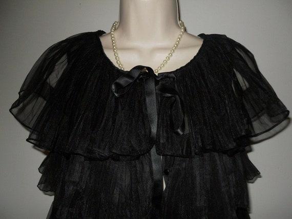 Vintage 1950's Evette Black Peignoir Negligee   ~… - image 3