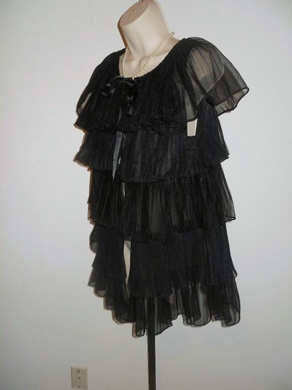 Vintage 1950's Evette Black Peignoir Negligee   ~… - image 5
