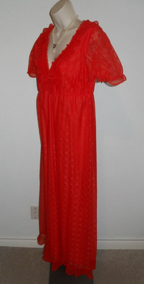 Vintage Scarlet Red Chiffon Long Ruffled Nightgow… - image 6