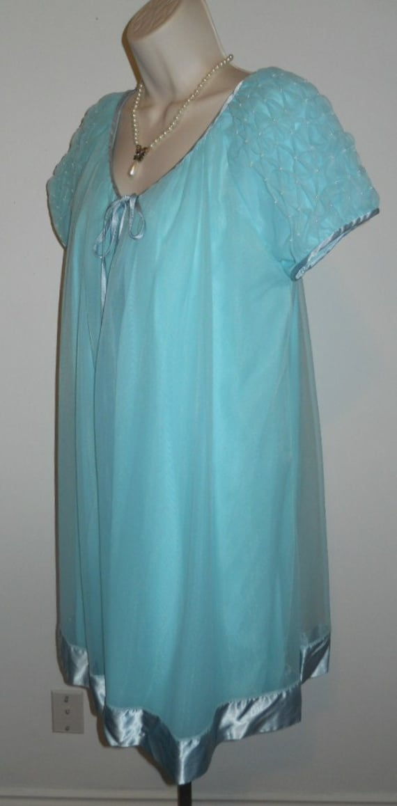 Vintage Louis Jean Baby Blue Chiffon Peignoir Neg… - image 8