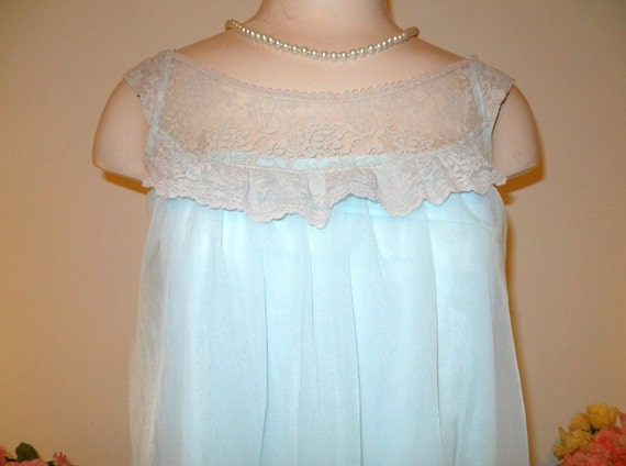 Vintage Baby Blue Nightgown ~ 1960's Love Lines b… - image 2