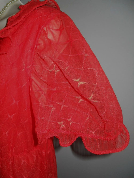 Vintage Scarlet Red Chiffon Long Ruffled Nightgow… - image 5