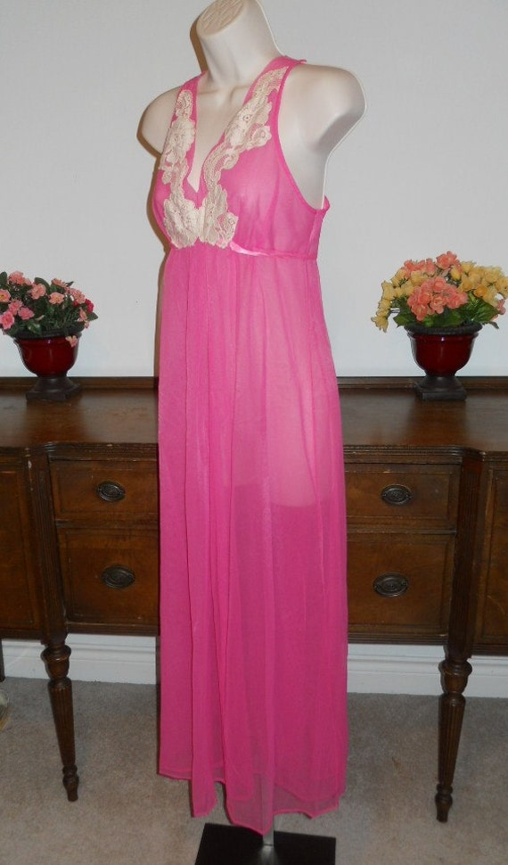 Vintage  ARISTOCRAFT Fancy Pink Nightgown ~ 1950'… - image 4