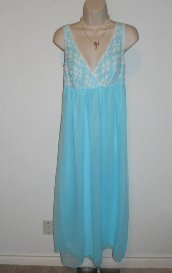 Vintage Baby Blue Chiffon Nightgown ~ 1960's Long… - image 2