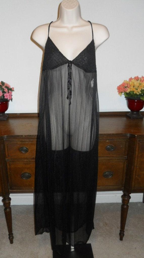 Vintage Black Chiffon Nightgown ~ 1960's Slumber S