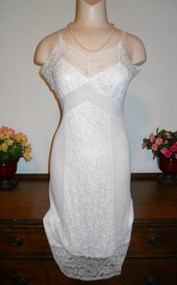 Vintage White Lacy Slip ~ 1950's Barbara S Slip ~