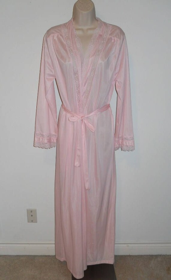Vintage Petal Pink Peignoir ~ 1980's Extra Long Pi