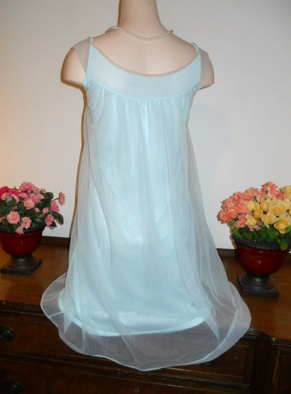 Vintage Baby Blue Nightgown ~ 1960's Love Lines b… - image 4