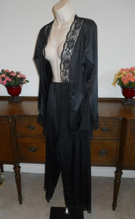 Vintage Undercover Wear Pajamas ~1980's Black Nyl… - image 2