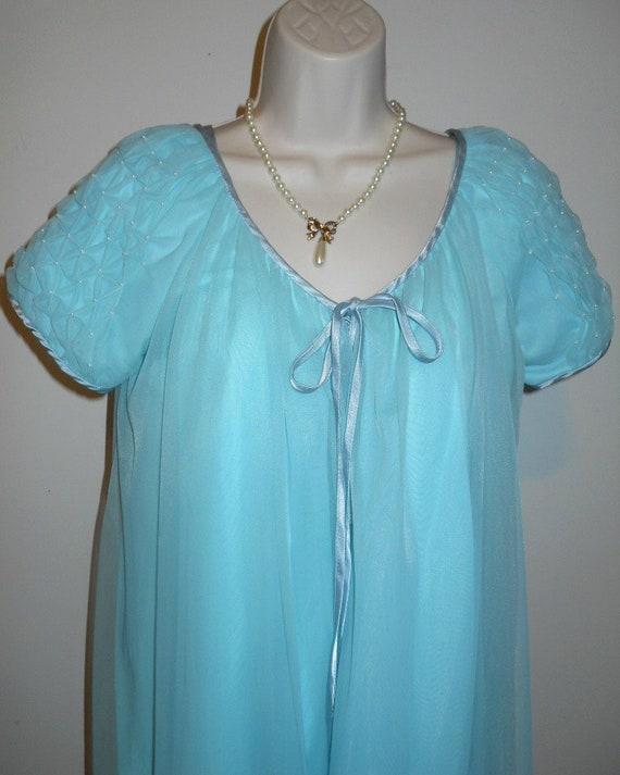 Vintage Louis Jean Baby Blue Chiffon Peignoir Negl