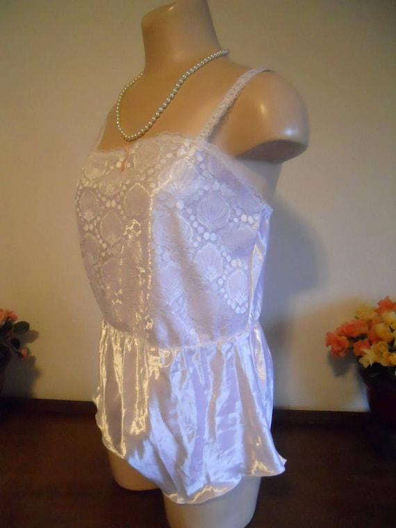 Vintage 1980's Avon Teddy Play Romper  ~ Bridal Wh