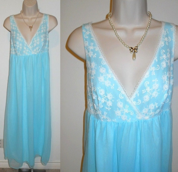 Vintage Baby Blue Chiffon Nightgown ~ 1960's Long