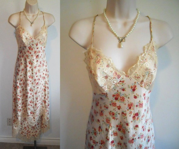 Vintage 1990's Guess Long Floral Nightgown ~ Roman