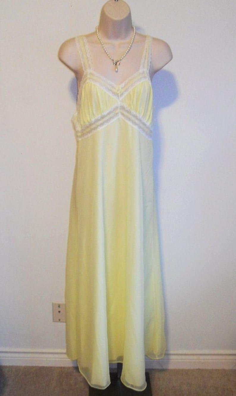 8ed4b22b4be4 Vintage Yellow Chiffon Nightgown 1960's Linda Lingerie | Etsy
