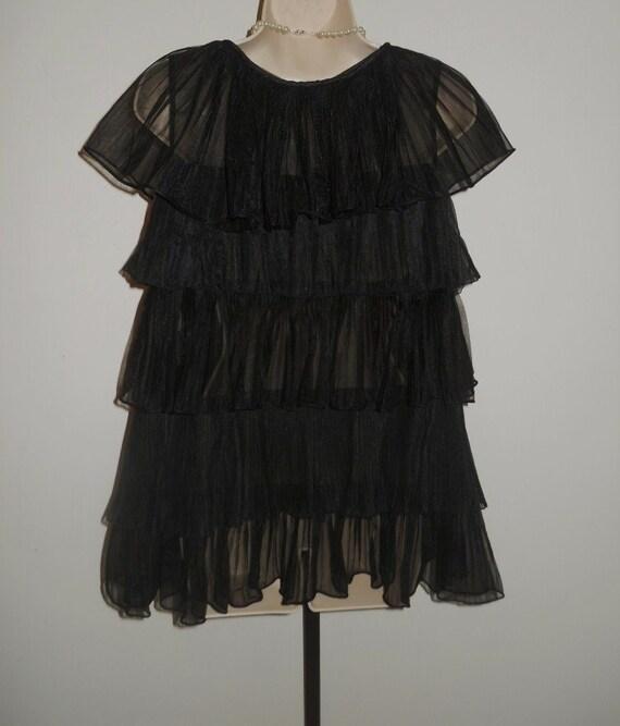 Vintage 1950's Evette Black Peignoir Negligee   ~… - image 7
