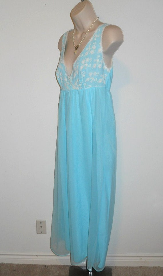 Vintage Baby Blue Chiffon Nightgown ~ 1960's Long… - image 4