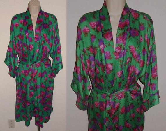 Vintage Van Raalte Green Floral Dressing Gown ~ Dr
