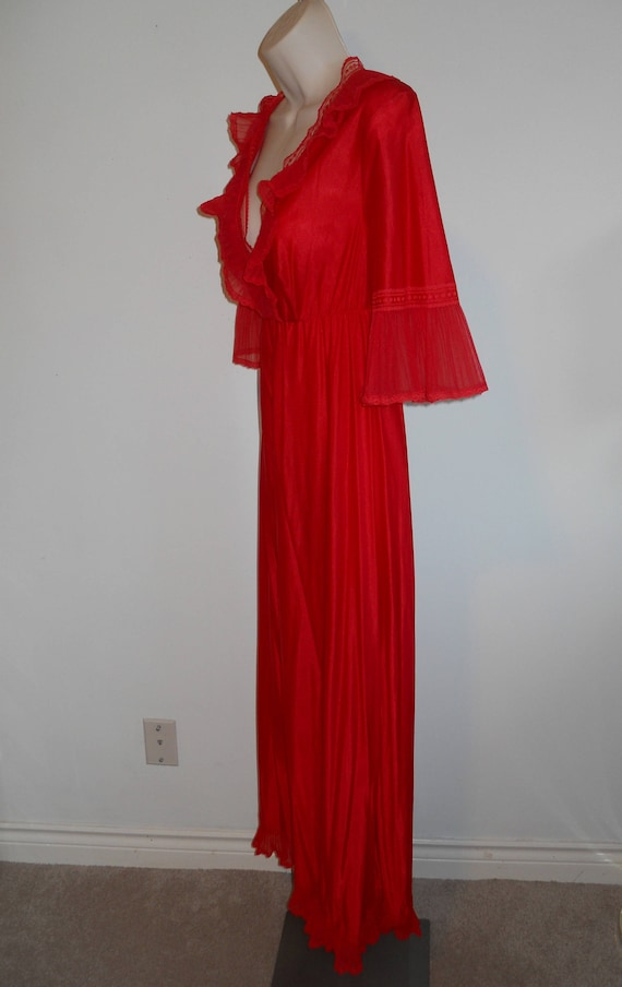Vintage Long Red Chiffon Nightgown ~ 1980's Ruffl… - image 4