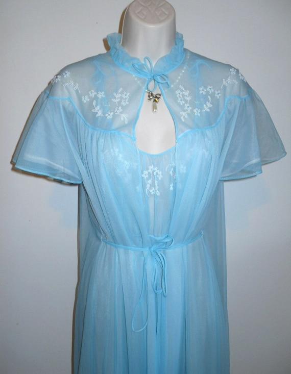 Vintage Carters FANCY Baby Blue Peignoir Set ~ 195