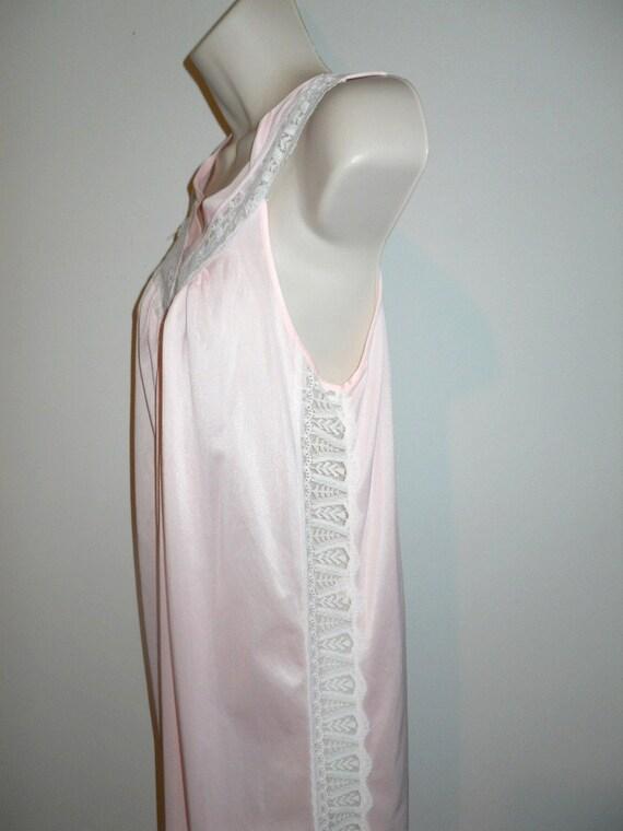 Vintage Long Pink Nightgown ~ Elegant 1980's Silk… - image 5