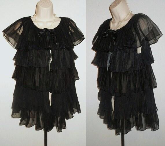 Vintage 1950's Evette Black Peignoir Negligee   ~