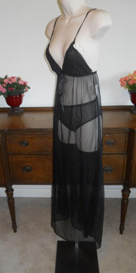 Vintage Sheer Black Nightgown and Panty Set ~ 197… - image 3