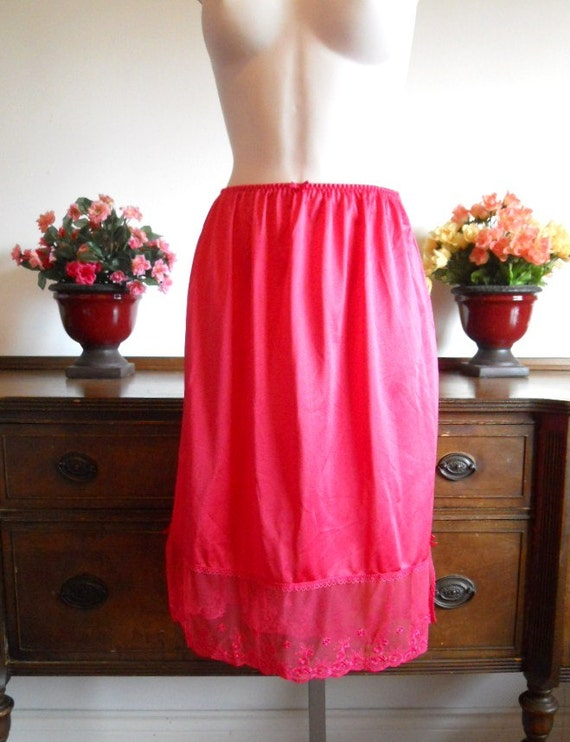 Vintage Red Half Slip Petticoat ~  1970's Red Half
