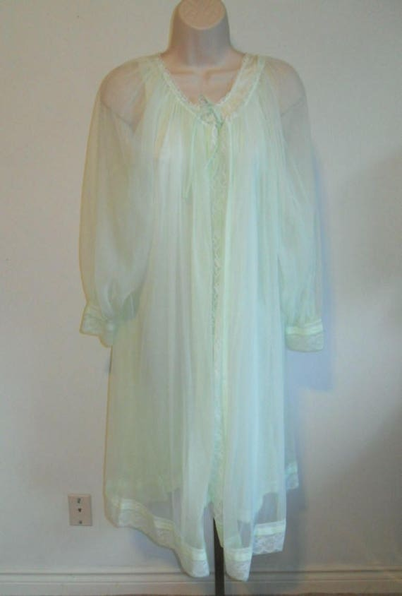 Vintage Miss Elaine Peignoir  Set ~ 1960's Sea Foa