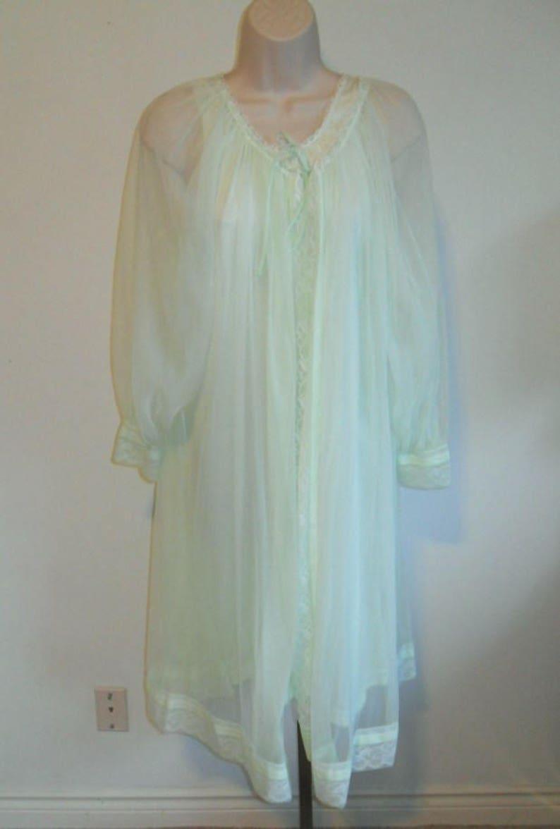 1a221a658aef Vintage Miss Elaine Peignoir Set 1960's Sea Foam Green | Etsy