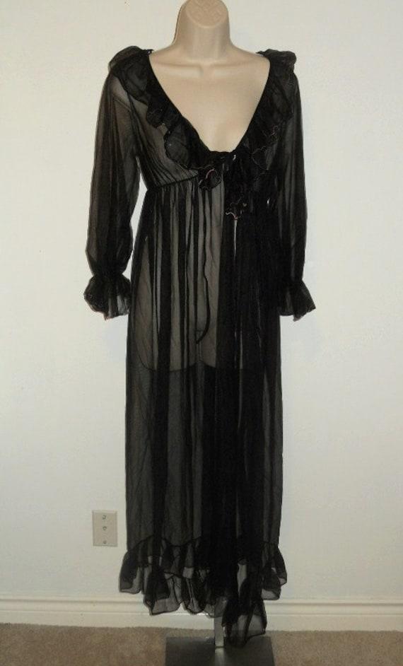 Vintage Ultra Sheer Long Black Peignoir Negligee ~