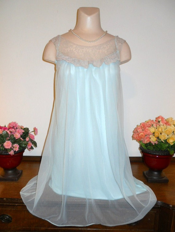 Vintage Baby Blue Nightgown ~ 1960's Love Lines by