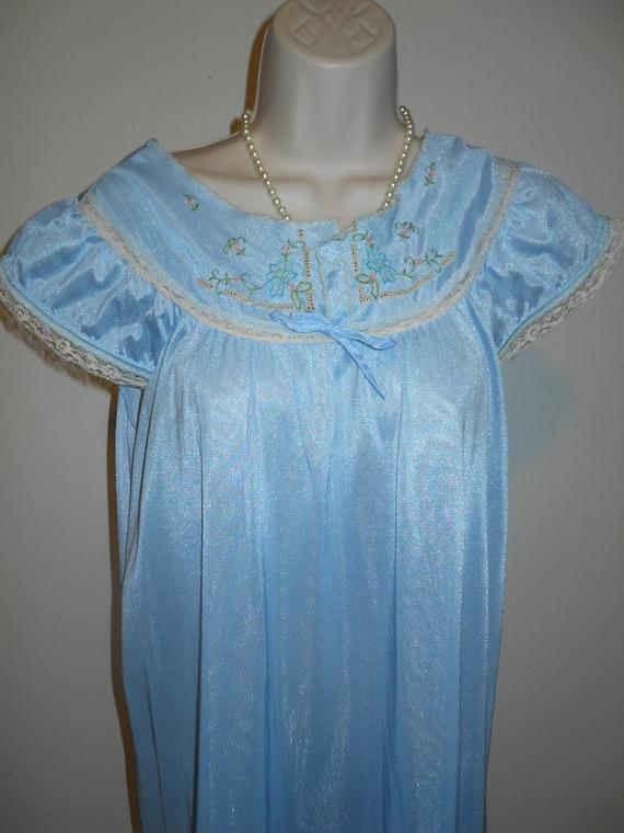 Vintage Long Blue Nylon Nightgown ~ 1980's Powder