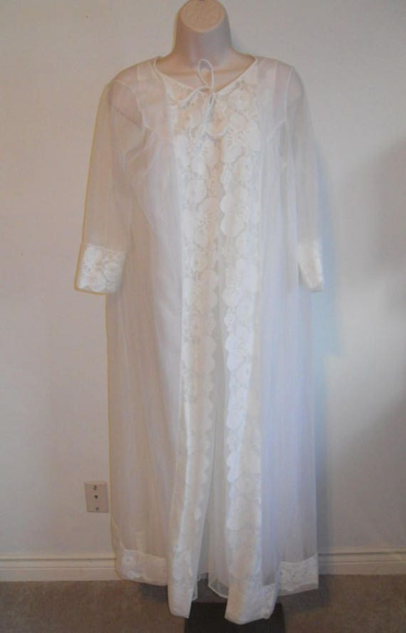 Vintage White Chiffon Peignoir Set 1950 s Sears Roebuck  4665a3e1d