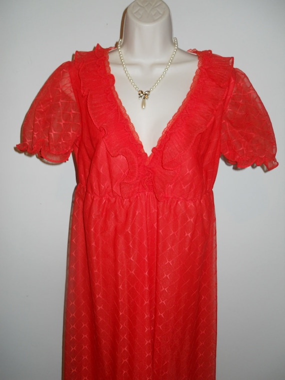 Vintage Scarlet Red Chiffon Long Ruffled Nightgow… - image 1